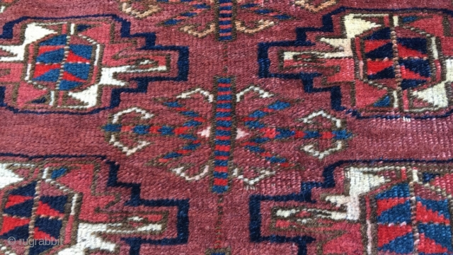 Yomut chuval with unusual interior main gol. Deeply saturated natural colors. Good condition. Very nice wool quality. Back fully attached and preserved. Size 49.6 x 31.1 inch (126 x 79 cm)