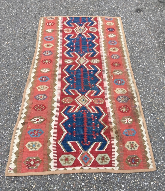 Obruk kilim, 1st half 19th century (older than most). Excellent proportions, yuncu-like drawing. Gorgeous apricot and purple, lazy lines. Top and bottom reduced, all sides secured with protective band. Many gorgeous details.  ...