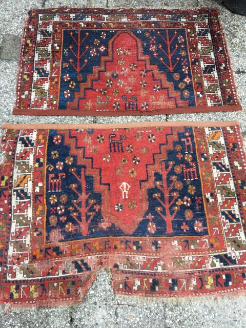 Anatolian fragment with headless human figure and seven camels. 19th century, Konya? Deeply saturated colors, soft wool. Cut but not shut. Bare edges protected by cotton band. Good condition given the age.  ...