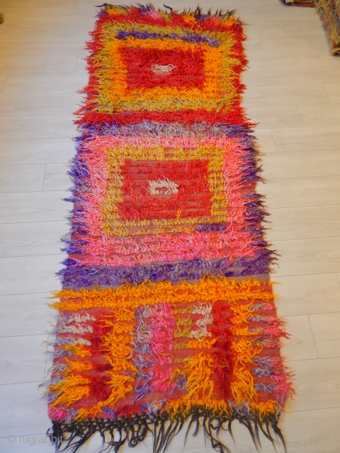 Anatolian Angora Wool Tulu, synthetic colors but bold graphics and texture.