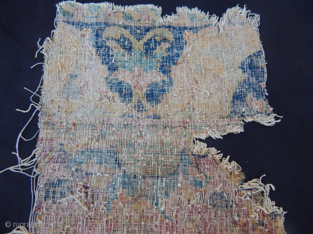 Antique 17th century Kerman Vase Carpet Fragment