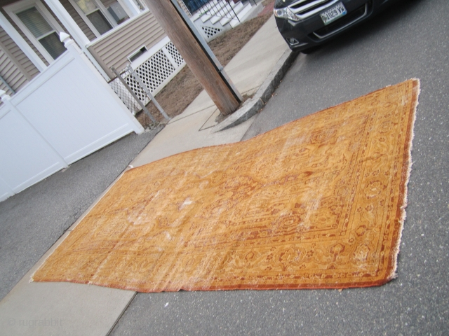 "antique worn turkish rug measuring 6' 11"" x 14' 2"" clean no dry rot condition as shown any question please ask thanks. 90% of the rugs here sell fast check out the  ..."