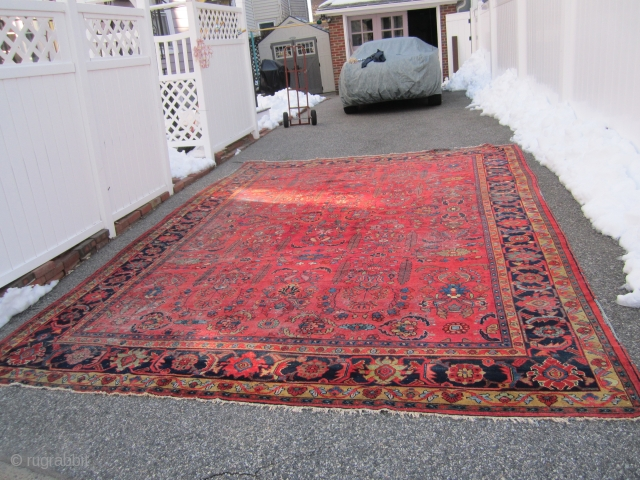"huge antique persian lillian oriental rug measuring 10' 8"" x 14' 6"" solid rug no holes area of wear clean can send more picture if interested thanks. ON HOLDDDDDDDDDDDDDDDD"