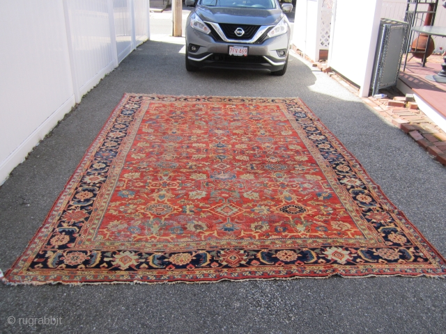 "beautiful antique mahal rug measuring 8' 5"" x 12' 5"" very nice colors solid rug some minor damage as shown easy repair some low pile area and minor moth bite at the  ..."