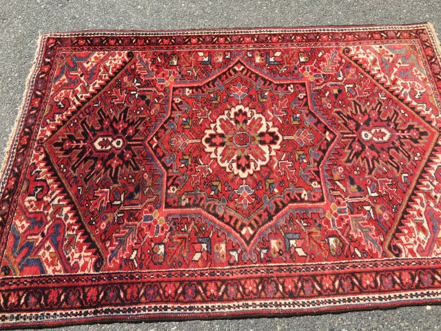 "Baby Heriz rug good condition full pile good age nice design 4' 1"". X 5' 7"" 325.00 plus shipping SOLD THANKS"