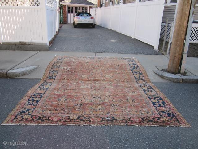 """antique mahal rug 9'  x 11' 9"""" solid rug no dry rot no hole some old moth wear some loss to the ends great soft colors cheap money SOLDDDDDDDDDDDDDDDDDDDDDDDDD"""