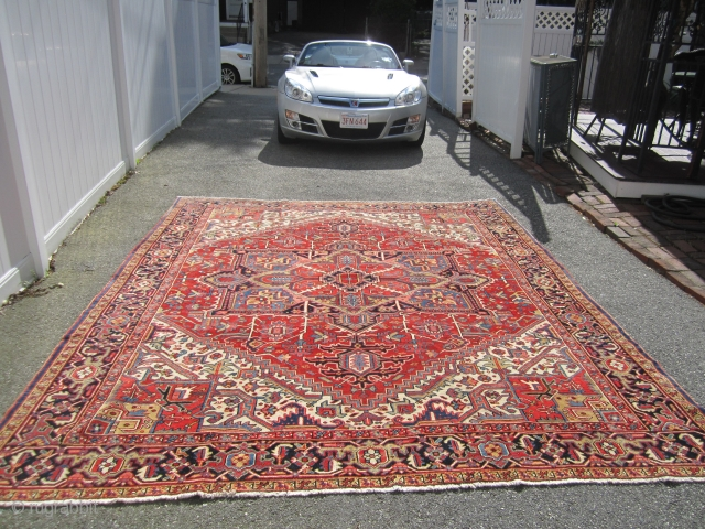 "very clean heriz rug very good retail condition no work needed great size 9' x 10' 8""can send more picture if interested 1800.00  SOLD THANKS"