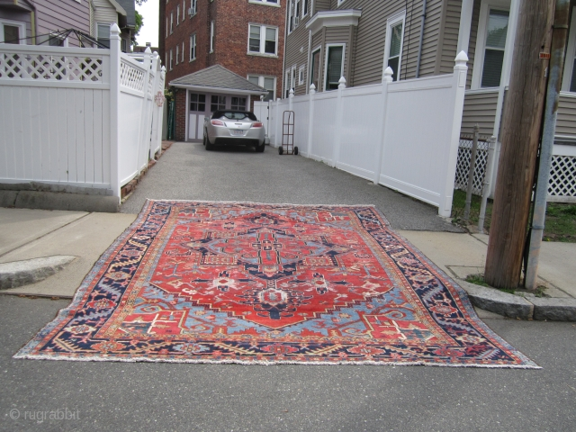 "antique heriz serapi karaja rug measuring 10' 5"" x 13' 7"" nice colors very clean area of repiling and wear both ends and sides are good solid rug good size  everything  ..."
