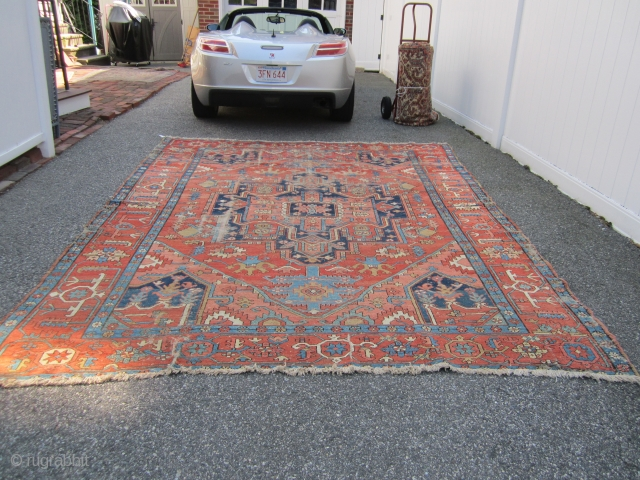 "antique serapi solid rug great colors has wear can send more pictures if interested 8' 9"" x 11' 9"". SOLD THANKS"