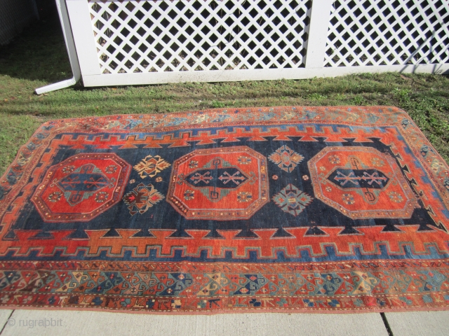 "antique arminian kazak rug measuring 6' 3"" x 9' 10"" solid beautiful rug great even pile bounded at all 4 sides 3 reinforced tape in the back they are not a repair  ..."