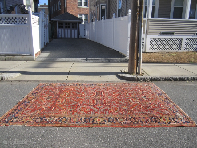 "nice all over heriz rug measuring 8' 2"" x 11' great colors clean rug one repair on the side as shown some loss to the ends and selvage nothing major great retail  ..."