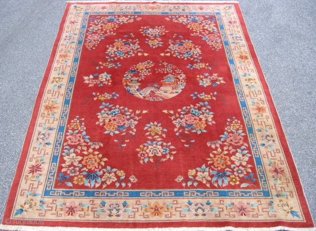 Art Deco Chinese rug, hand knotted wool, China, ca.1940, red with a beige border, the medallion is a classic riverscape scene with pagodas, low even pile, this rug is not thick, but  ...