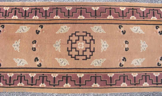 Art Deco Chinese runner, hand knotted wool, China, ca.1930-40, bats and clouds on a tan field with an aubergine-plum border, earthy peach, black, and pale gray-green accent colors, near mint condition, size  ...