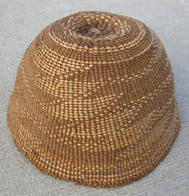 Antique Native American basketry hat, Modoc or Klamath People, NE California or SE Oregon, 19thC, hand woven brown tule with a grey nettle start, tight closed twined weaving, decorated with bear grass  ...