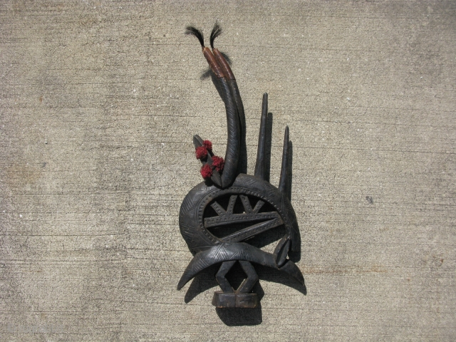 Vintage African headdress, hand carved wood, Chi Wara, antelope, Bambara People of Mali, alt sp. Bamana, there are some chips and possible repairs, one of the longest horns wobbles a bit and  ...