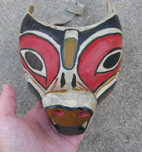Vintage Pacific Northwest Coast mask, Wolf forehead mask, Kwakwaka'wakw People, ( Kwakiutl ) or their neighbors the Bella Coola, hand carved wood, hand painted, hide ties, the approximate size is 9 inches  ...