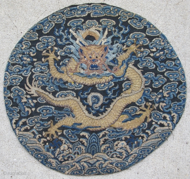 Antique Chinese nobility badge from a surcoat, China, mid 19thC Qing Dynasty, front facing 5 claw dragons on a roundel, were called dragon of heaven, and reserved for the highest ranking members  ...