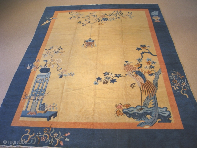 Antique Chinese Peking rug in an art deco style, hand knotted wool pile on cotton, ca. 1920, Peking rugs are not thick and plush like some Chinese deco rugs, but this one  ...