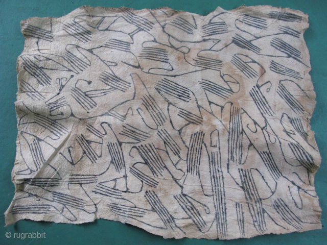 Vintage Pygmy bark cloth, hand pounded tree bark and and hand painted, I see bird and animal figures, but I have a good imagination, Mbuti People, Ituri Rainforest of the Central Congo  ...