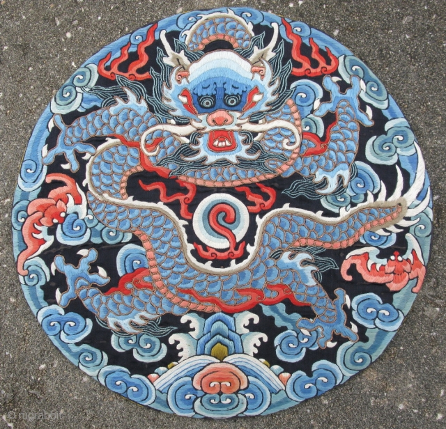 Antique Chinese Nobility Insignia Roundel for a coat, 4 toe front facing dragon of heaven / mang, silk embroidery and couching of gold metal threads, general good condition, but there is some  ...