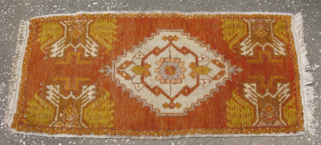 Turkish Yastik rug, hand knotted wool, Turkey, mid 20thC, 18in x 39in, #1704, I know this is more for the decorative market, but I find it interesting to see the obvious bird  ...