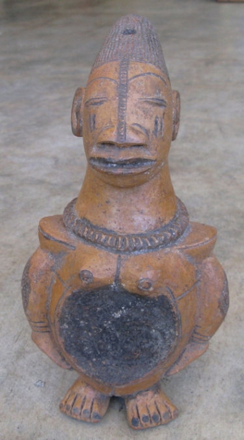 Mangbetu pottery figure with occipital head deformaion, Mangbetu Peoples, D.R. Congo, 20thC vintage, the Mangbetu are one of the few African tribes that practice head deformation, similar to some Native American groups,  ...