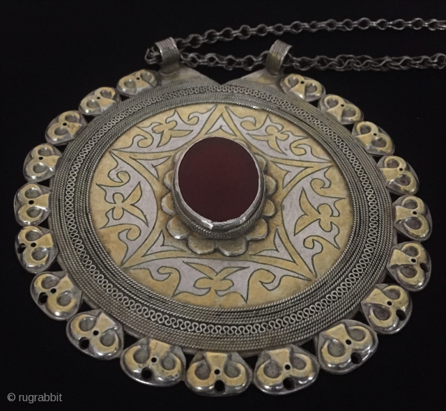 Central-Asia A beautifull Turkmen / Turkoman - tekke vintage silver traditional pendant gold washed with cornalian original ethnic tribal jewelry - jewellery Excellent condition Circa - 1920-40 Thank you for visiting my  ...