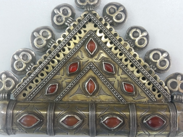 Centrial Asia Turkmenistan Tribal Tekke Silver Tumarca, Fire gilded and Cobachon carnelians stones, Open work Circa : 1900 weight : 227 gram Size : 11x18