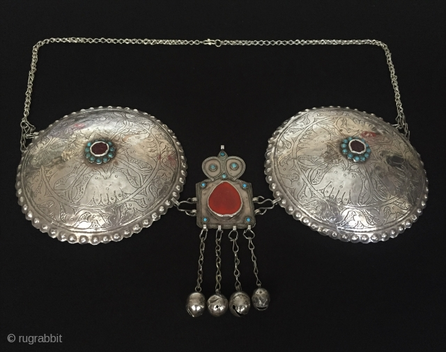 Central-Asia Turkmenistan-Olam Antique tribe collection bra with cornalian and turquoise original ethnic traditional art jewelry Best condition special handcrafted Circa-1900 Weight : 229 gr Thank you for visiting my rugrabbit store !