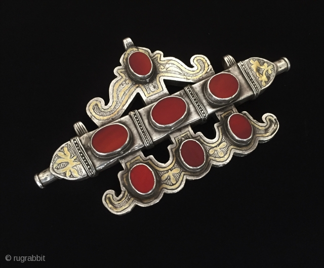 Central-Asia Turkmen and Karakalpak tribal silver (Tumar) necklace - pendant fine gilded with cornalian original ethnic traditional jewellery-jewelry Excellent condition ! Circa - 1900 Size - Height : 10 cm - Lenght  ...