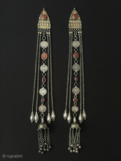 Central-Asia A pair of Turkmen-yomud antique ethnic tribal silver headdress jewelry very fine fire gilded and with cornalian This is a collector pieces Excellent condition ! Circa - 1900 or earlier Size-  ...