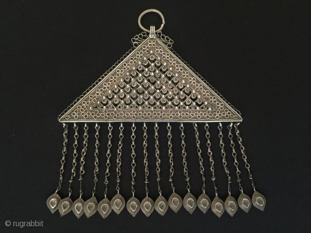 Central-Asia From Afghan-turkoman filigree antique vintage silver double size tassel pendant original ethnic tribal jewelry Circa-1900s Size- Height'14'-Width'13cm'-Weight'91gr. Thank you for visiting my rugrabbit store !