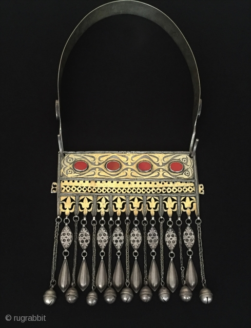 Central-Asia Ethnic Turkmen tribal silver tassel necklace fine fire gilded with cornalian open work This is turkoman collector jewellery / jewelry Fine condition ! Circa - 1900 Size Height with hanger :  ...