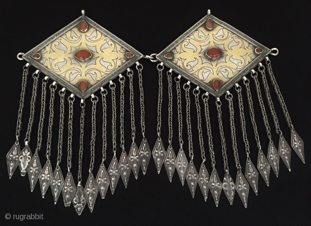 Central-Asia Antique very fine handcrafted Turkmen İskendery design pair of silver donbaghcık jewelry fine gilded with cornalian original ethnic tribal silver jewelry Great condition ! Circa - 1900 or earlier Size -  ...