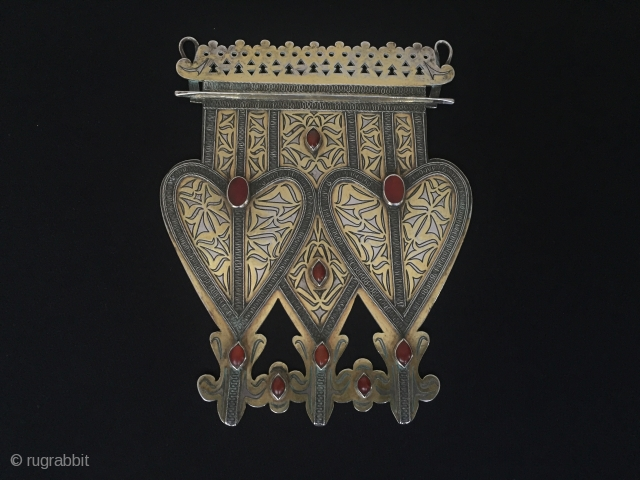 Central-Asia Turkmenistan-Tekke Antique traditional collectible silver two hard pendant asyk fire gilded with cornalian (iskendery design) Excellent condition Height ''19'' - Width ''14''cm - Weight : 271 gr Thank you for visiting  ...