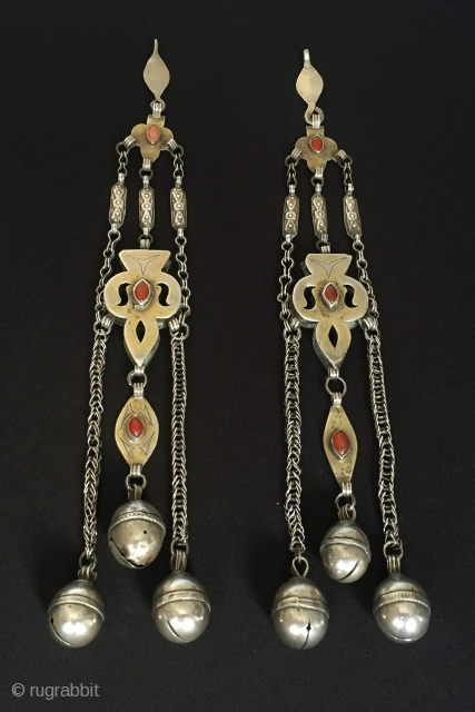 Central-Asia Turkmen Hair-Pendants Ethnic Vintage Turkmen Fire Gilded Pair of Hair Adornment Pendants original ethnic traditional jewelry Circa-1900 Very nice condition Height ''30'' - Width ''4''cm - Weight : 160 gr Thank  ...