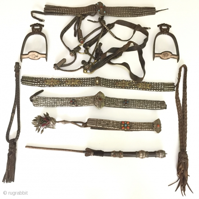 Central-Asia On offer is a rare complete set of Tekke Turkoman / Turkmen Horse Jewellery accessories dating to the 19th Century. It is made out of high grade silver with gold plating  ...