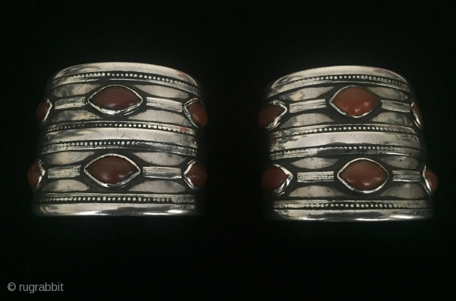 Central-Asia A pair of Turkmen - Ersary antique traditional silver bracelets with old cornalian original ethnic tribal jewelry / jewellery Excellent condition ! Circa - 1900 or earlier Size - 5.5 cm  ...