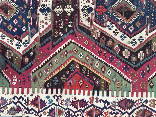 Complete and very good condition Malatya or Rashwan Kelim with wonderful dyes. It is dated (128? and probably 6) 1870 (?)! Nice piece, 340 cm x 194 cm.