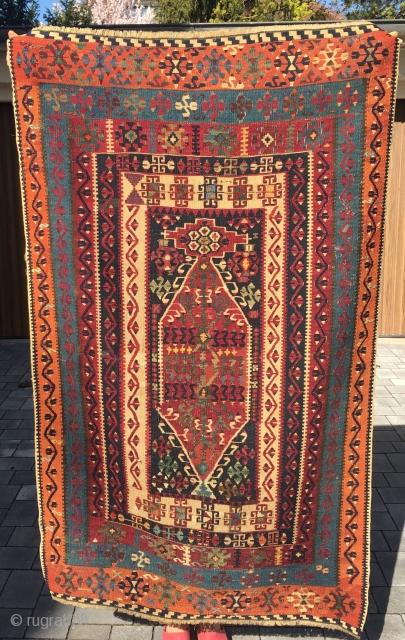 Anatolian prayer Kilim of unknown origin. Probably north-central Anatolia. Small size and excellent dyes! 19. century. Small size: 150 cm x 90 cm approx. Some repairs but otherwise complete and in good  ...