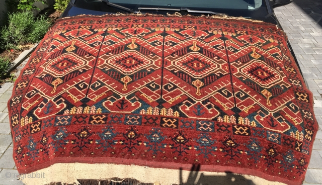 Lovely Beshir or Ersari chuval with Ikat design. Rare! Complete with one tiny hole. Big size and super decorative not only on cars but on the wall. With original kelim and huge  ...