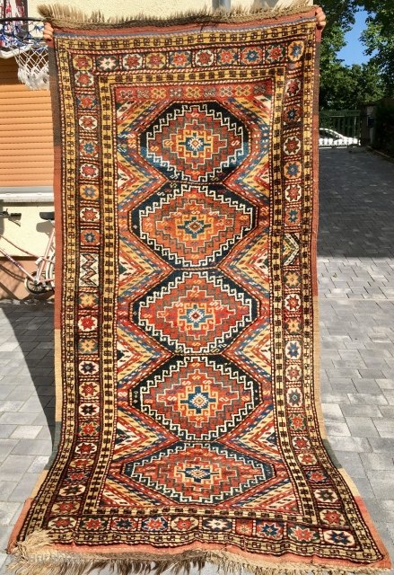 Great Quchan Kurd with lots of pile: 284 cm x 124 cm. Funky teddy bear in great condition.