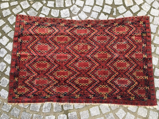 Antique Beshir Chuval 162 cm x 102 cm. Charming Turkmen weaving.