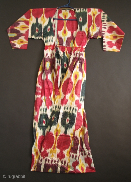 Uzbek 28 Central Asian Ikat Coat, Silk/Cotton, 52 inches long, Unlined 