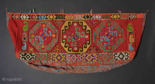 UZBEK 34 Central Asian Uzbek Napramach 16 x 40 inches as photographed This has 19th century block print and Russian trade cloth backing