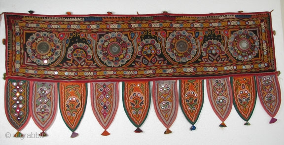 Indian Hanging #5, Silk Embroidery on Cotton,  19 x 44.5 Black Background