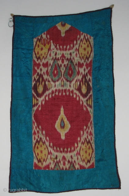 SM-23 Central Asian Ikat Hanging, Silk/Cotton, c1875, 31.5 x 19 inches, One stain and repair patch
