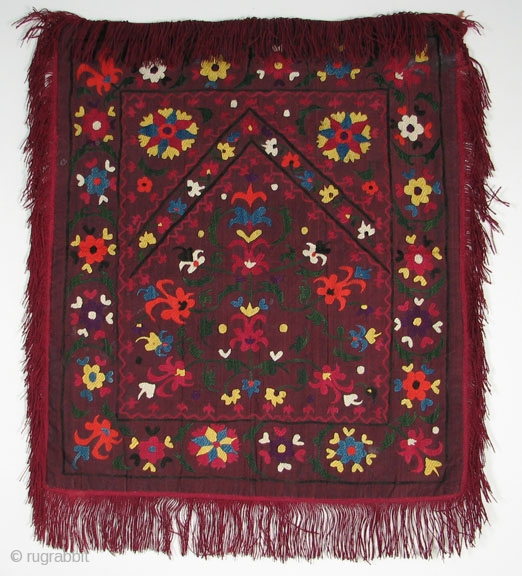 "Central Asian ""Aina Khalta"", Silk embroidery on Silk, Early 20th Century, 20 x 16.5 inches, Very nice example