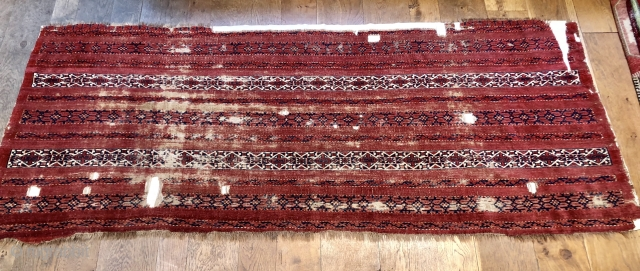 Rare and early large all pile  banded Khirghiz(?) chuval or sleeping rug fragment. Must be 1850 or before. Wool is like velvet and one of the reds slightly corroded most like  ...