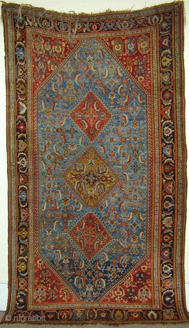 Super Kashkuli carpet ca 1860 approx 8 by 5 feet. The Sky blue field and mustard yellow medallion are as good examples of colour you will ever find. 